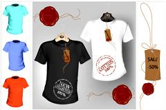 多款时尚T恤设计矢量素材