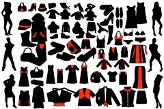 各种男女人物剪影和服装矢量素材