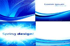 4款蓝色线条花纹背景矢量素材