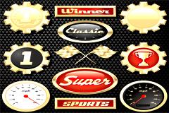 精美赛车图标和速度仪表矢量素材