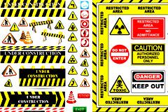 各种道路施工安全标志矢量素材
