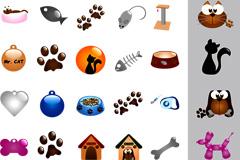 猫狗宠物用品元素矢量素材