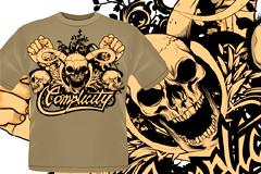 2款潮流骷髅图案T恤矢量素材