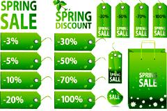 绿色销售标签和购物袋矢量素材