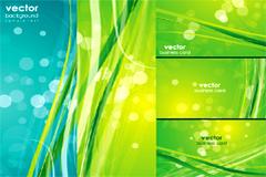 清新绿色光点和动感线条背景矢量素材