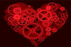 由齿轮组成的创意心形矢量素材