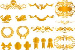 欧式风格金色花纹装饰元素矢量素