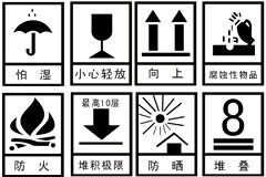 包装运输警示标志矢量素材