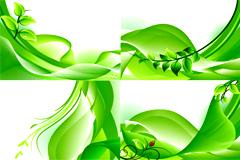 充满春天气息的动感绿叶背景矢量