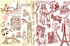 线条涂鸦巴黎和伦敦名胜古迹矢量素材