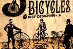 怀旧风格欧洲古老自行车矢量素材