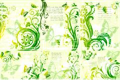 清新潮流绿色植物蝴蝶花纹矢量素材
