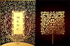精美金色树木花纹矢量素材