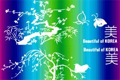 精美炫彩条纹植物蝴蝶矢量素材