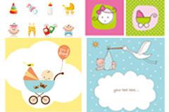 可爱婴儿物品主题矢量素材