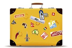 黄色旅行箱子矢量素材