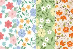 夏日清雅素花装饰底纹图案矢量素材