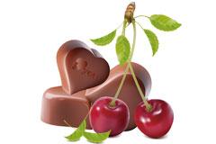 心形巧克力和樱桃矢量素材