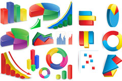 立体数据统计图标矢量素材