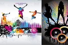 潮流女性与音乐主题矢量素材
