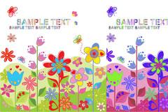 可爱缤纷小花朵矢量素材