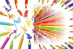 彩色铅笔与笑脸矢量素材