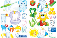 爱护牙齿卡通图标矢量素材