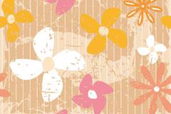怀旧的花朵壁纸矢量素材