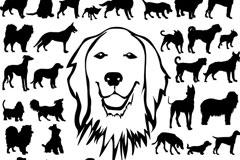 可爱狗狗剪影矢量素材