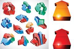 超多彩色立体箭头图标矢量素材