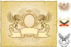 雄狮&猎鹰潮流纹样矢量素材