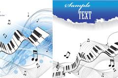 清新钢琴与音符矢量素材