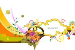 炫丽花卉装饰底纹矢量素材