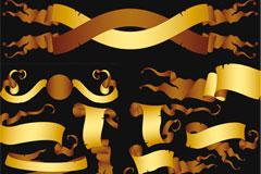 数款实用的金色标语幅矢量素材