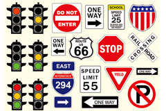 交通指示与标志矢量素材