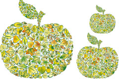 树叶与苹果创意矢量素材