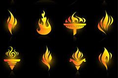 数款燃烧火炬矢量素材