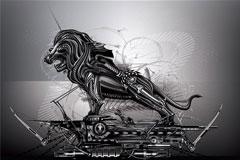 金属狮子矢量素材