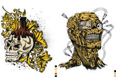 个性骷髅T恤印花图案矢量素材