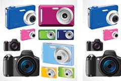 时尚彩色相机矢量素材