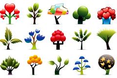 多款可爱抽象树木图标矢量素材