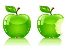 水晶青苹果矢量素材