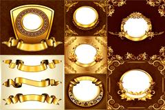 多款金色华丽装饰边框矢量素材