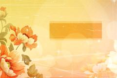 怀旧风格梦幻花朵背景矢量素材