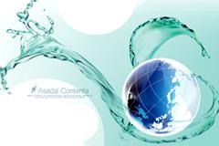 动感水与蓝色地球背景矢量素材