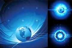 蓝色地球主题背景矢量素材