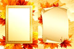 枫叶主题背景和边框矢量素材