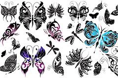 唯美设计蝴蝶图腾矢量素材