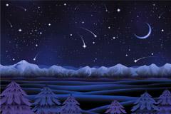 紫色梦幻雪夜矢量素材