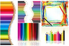 彩色铅笔创意艺术矢量素材